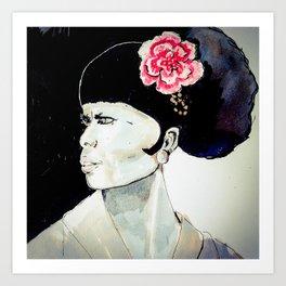 Jeune femme au chignon Art Print