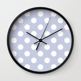 Light periwinkle - grey - White Polka Dots - Pois Pattern Wall Clock