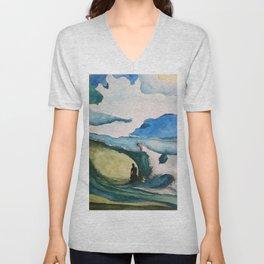 Watercolor Surfer Unisex V-Neck