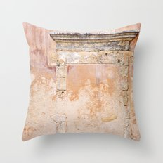 Ancient Marble Doorframe and Plaster, Crete, Greece Throw Pillow