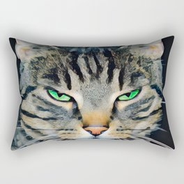 Angry Tabby Cat With Green Eyes Rectangular Pillow