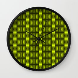 Fashionable large floral from small yellow intersecting squares in stripes dark cage. Wall Clock