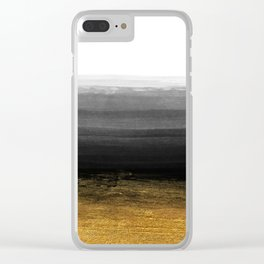 Black and Gold grunge stripes on clear white backround I - Stripes- Striped Clear iPhone Case