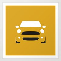 mini cooper Art Prints featuring Mini Cooper ( 2007 ) by Nick Steen