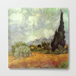 Vincent van Gogh's Wheat Field with Cypresses Metal Print