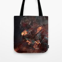 atheist Tote Bags featuring Thoughts of A Dying Atheist by Matteus Faria