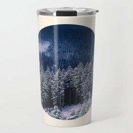 Winter Pine Trees Round Photo Travel Mug