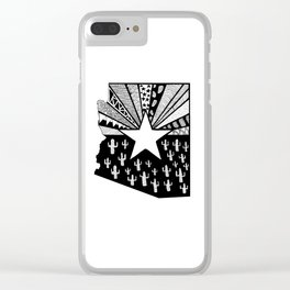 Black and White Arizona Patterned State Map Clear iPhone Case