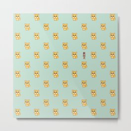 Hachikō, the legendary dog pattern (Green) Metal Print