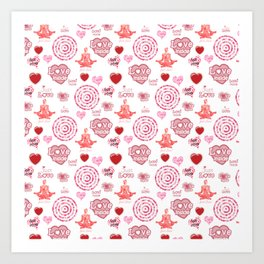 Cute set of hearts and symbols for a Valentine's day or wedding gift Art Print