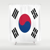 korea Shower Curtains featuring Flag of South Korea by Neville Hawkins