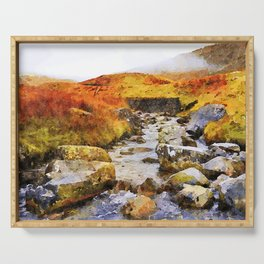 Brook at Honister Pass, Buttermere, Lake District, England. Watercolour Painting. Serving Tray
