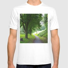 The Path To Wellbeing White MEDIUM Mens Fitted Tee