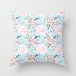 Shabby Chic Bluebirds and Watercolor Roses on pale blue Throw Pillow