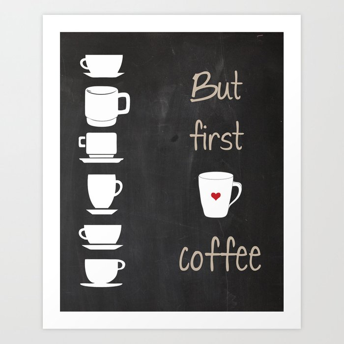 But First Coffee Black And White Print Kitchen Art Printable Wall Decor Typography Poster Di