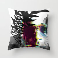 hunter s thompson Throw Pillows featuring Hunter S by theCword