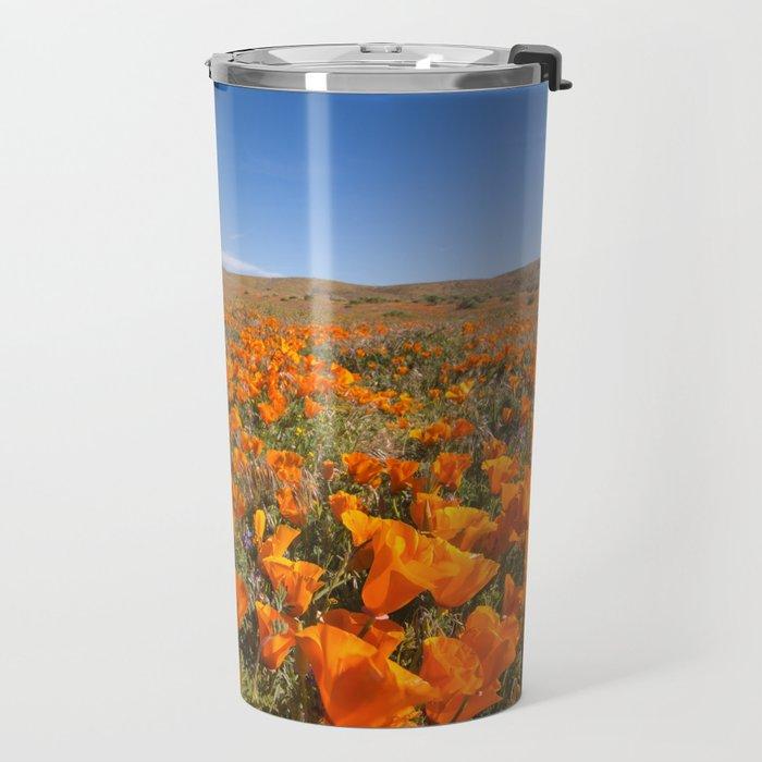 Blooming poppies in Antelope Valley Poppy Reserve Travel Mug