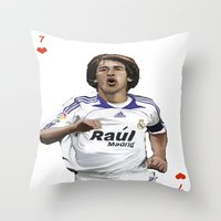 real madrid Throw Pillows featuring Raul Madrid by Dano77