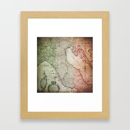 Vintage Map of Italy Framed Art Print