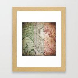 Vintage Map of Italy Framed Art Print