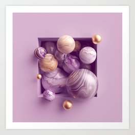3d abstract background, assorted pink gold marble balls inside square niche Art Print