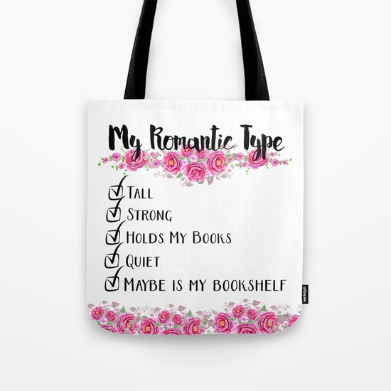Bookshelf Romance Tote Bag