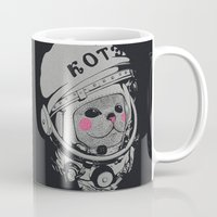 spaceman Mugs featuring Spaceman cat by Lime
