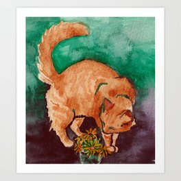 saint cat Art Print