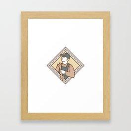 Mechanic Holding Wrench Crest Mono Line Framed Art Print