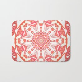Romantic Peach Mandala Design Bath Mat