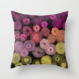 Night Bubble Flowers Throw Pillow