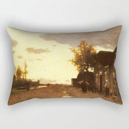 Along The Canal 1893 By Johan Hendrik Weissenbruch | Reproduction Rectangular Pillow