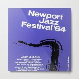 1964 Newport Jazz Festival Vintage Advertisement Poster Newport, Rhode Island Metal Print