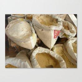 Sacks of Flour at the Market Canvas Print