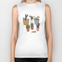 cactus Biker Tanks featuring Cactus by Anita Dominoni
