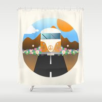 van Shower Curtains featuring Love Van by Moremo