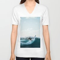 surfing V-neck T-shirts featuring Surfing  by Limitless Design