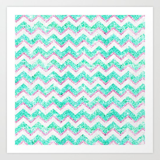 chevron pattern girly teal pink glitter art print by girly
