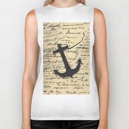 Vintage gray retro nautical anchor marine paper Biker Tank
