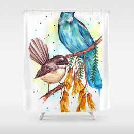 Kowhai Tui and Fantail Shower Curtain