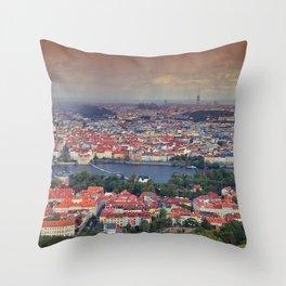Panorama of Prague with Vltava river Throw Pillow