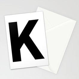 Letter K (Black & White) Stationery Cards
