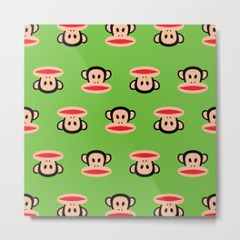 Julius Monkey Pattern by Paul Frank - Green Metal Print