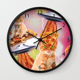 alien cats and the ufos Wall Clock