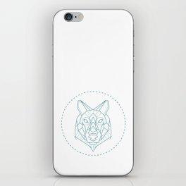 Geometric Blue Wolf iPhone Skin
