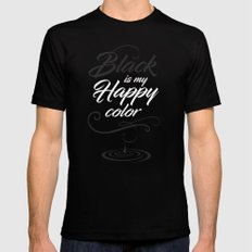 Black is may happy color Black MEDIUM Mens Fitted Tee
