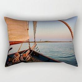 Sailing Towards Lighthouse at Sunset Rectangular Pillow