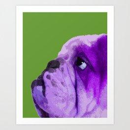 English bulldog portrait, Green Pop art Art Print