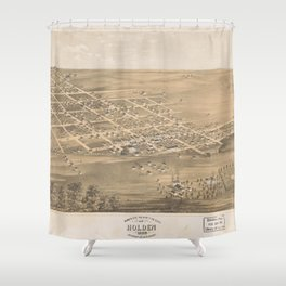 Vintage Pictorial Map of Holden MO (1869) Shower Curtain