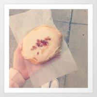 doughnut Art Prints featuring doughnut by melanielaurene